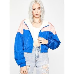 Dolls Kill Cropped Sherpa Bomber Jacket.